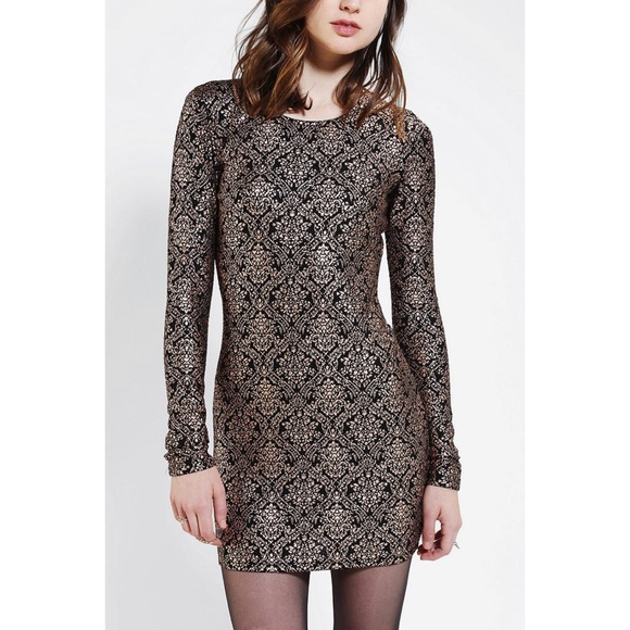 Urban Outfitters Knit Foil Brocade Bodycon Dress